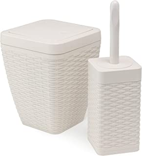 Addis lote de baño cuadrada de imitación ratán incluye swing de papelera y escobilla de baño, Color crema
