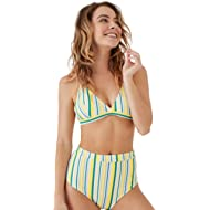 Seaselfie Women's Triple Color Stripe Print High Waisted Bikini Set V Neck Two Pieces Suits