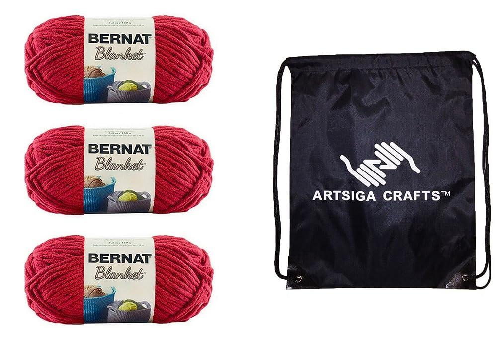 Bernat Blanket Yarn (3-Pack) Cranberry 161200-00705 Bundle with 1 Artsiga Crafts Project Bag