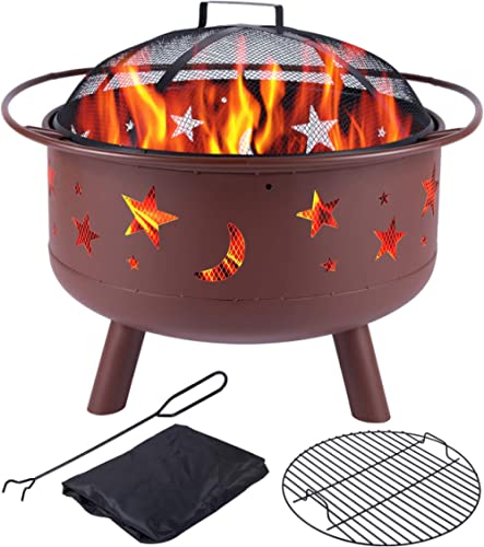 Y-ME Wood Burning Fire Pit Outdoor Patio Campfire Backyard Fireplace,Round Steel Deep Bowl Fire Pit,24 inch (Red-Star...