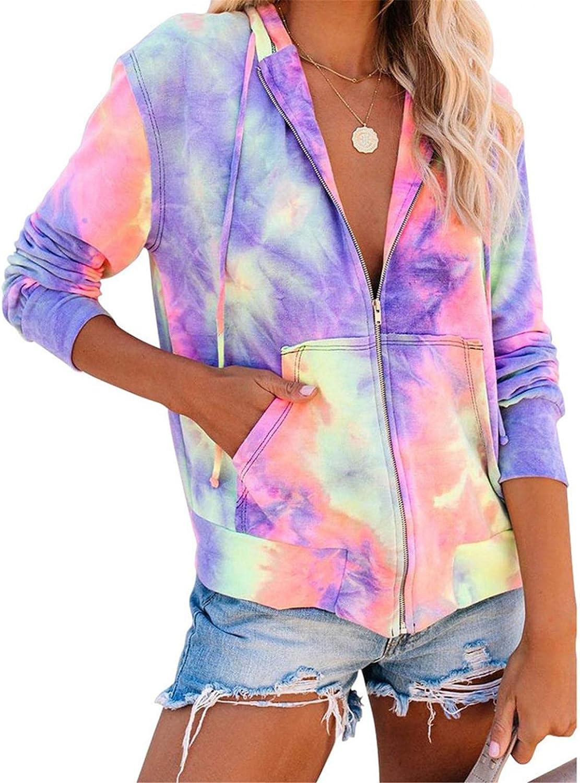 VEKDONE Women Zipper Hoodies Jacket Lightweight Colorblock Tie Dye Zip Up Long Sleeve Hooded Sweatshirt Plus Size