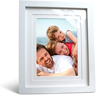 Holdean Home 8x10 White Picture Frame Real Glass Photo Frame with 6x8 and 5x7 Mat for Wall or Tabletop Display