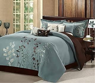 Chic Home Vines 8-Piece Comforter Bedding Set, Sage, Queen