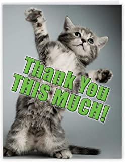 NobleWorks, This Much Kitten - Big Thank You Card with Envelope (8.5 x 11 Inch) - Cute Cat Notecard, Humorous Appreciation...