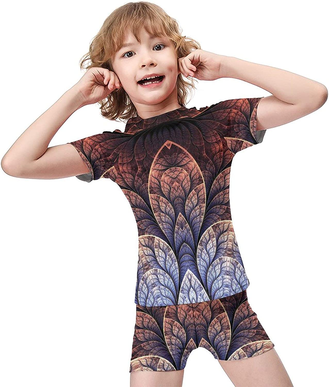 Yiaoflying Kids Boys 2 Piece Swim Set - Geometric Petals Rashguard Swimsuit Trunks