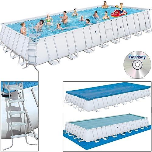 Bestway Schwimmbad Oberfläche 956X 488x 132cm mit Luftreiniger Kartusche 9.463Liter/Stunde