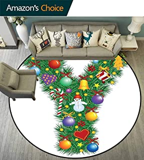 Letter Y Multi-Color Round Rugs Solid Color Christmas Celebration Items Happy Hearts Colorful Balls Snowman Uppercase Y Print Sofa Plush Area Rug Multicolor Diameter-55