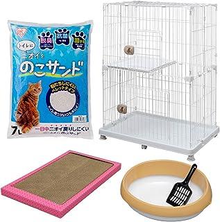 アイリスオーヤマ スターターセット キャットケージ PEC-902 ホワイト 2段+猫砂+猫トイレ+爪とぎ