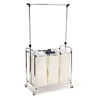 Seville Classics Mobile 3 Heavy-Duty Laundry Hamper Sorter with Clothes Rack Bag Cart, Plated Steel