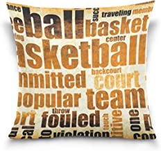 """MASSIKOA Grunge Basketball Game Sport Decorative Throw Pillow Case Square Cushion Cover 20"""" x 20"""" for Couch, Bed, Sofa or ..."""