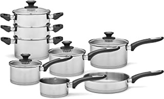 Morphy Richards Saucepans Sets With Lids, Stay Cool Handles, Themocore Technology, Stainless Steel Pan Set, 3 Piece, 16/18/20 cm
