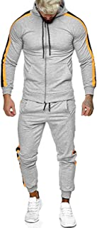 Men's 2 Pieces Gradient Outfit Set Long Sleeve Full Zip Hooded Pullover Sweater and Long Pants Set Gym Tracksuit Jogging S...