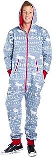 Tipsy Elves Men's Christmas Onesie Pajamas - Grey Moose Adult Holiday Jumpsuit