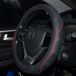 QianBao Genuine Soft Black Leather Car Steering Wheel Cover,Universal Fits 14 Inch Size, Odorless,Anti-Slip, Elegant, Excellent Grip, and Easy Install Wheel Wrap(Small(13.5-14.5), Red/Black)