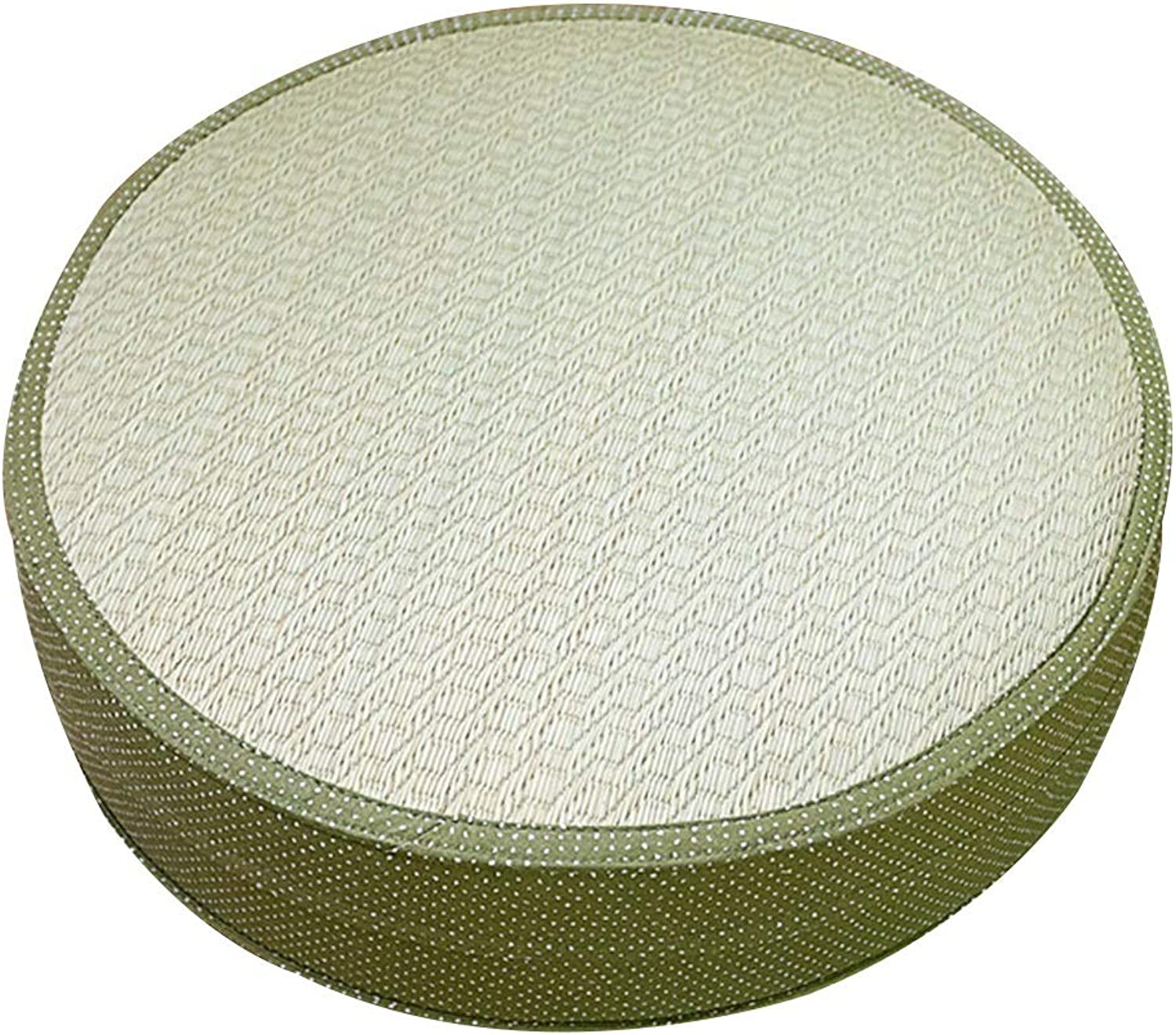 LSXIAO Pouffes And Footstools Circular Structure Natural Plants Warm in Winter and Cool in Summer Moisture Wicking Hand-Woven, 3 Sizes, 6 colors (color   Green A, Size   60x60x10cm)