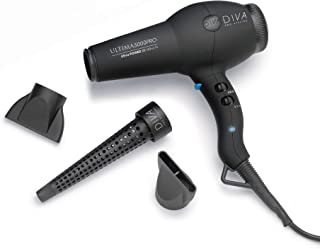 Diva Pro Styling Ultima 5000 Pro Dryer (Black) - 2200W Professional Hairdryer with Ionic Conditioning