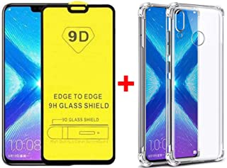Case for Huawei Y8s +9D Screen Protector Tempered Glass Protective Film, Soft Silicone Black Shell Gel Flexible TPU Phone ...