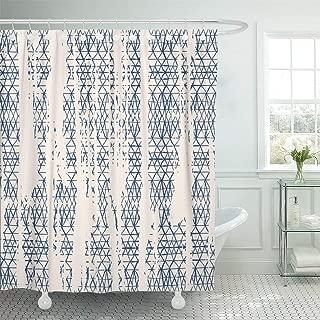 GETTOGET Organic Tie Dye Shibori Ink Japanese Modern Batik Watercolor Indigo Endless Kimono Rustic Shower Curtain Bathroom Sets Hooks,Waterproof Polyester Curtain