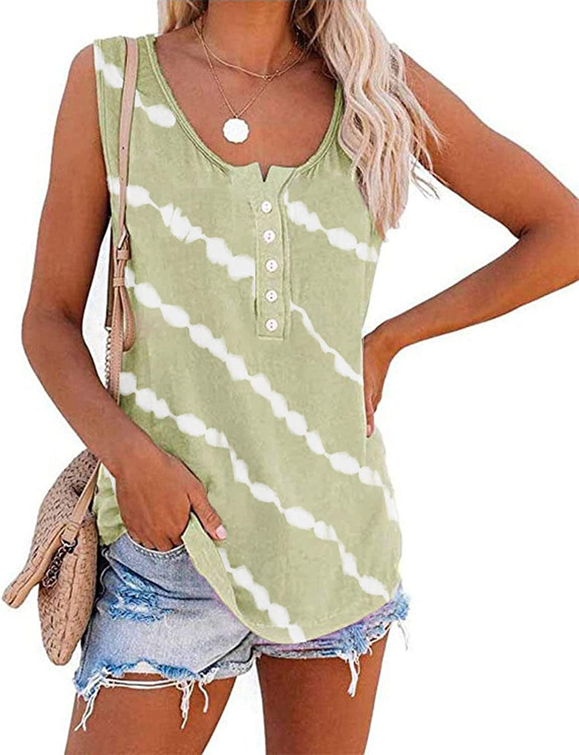 Aukbays Womens Striped Jersey Tank Top Loose Casual V Neck Sleeveless Tunic Shirt Loose Fit Crop Tops