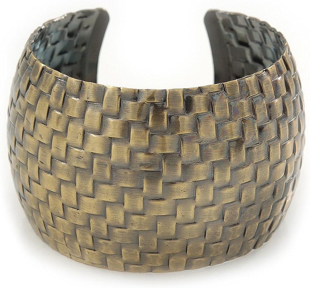 Avalaya Brushed Gun Metal 'Woven' Silhouette Cuff Bracelet - 18cm Length