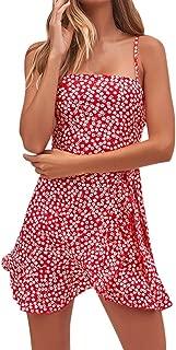 iFOMO Polka Dot Print Bohemian Spaghetti Strap Button Down Beach Holiday Dress for Women