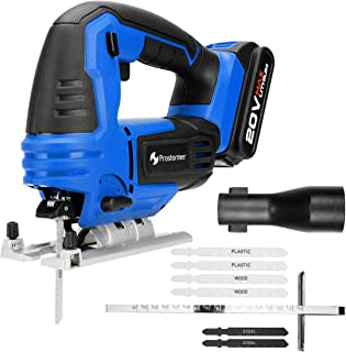 20V Max Cordless Jig Saw with Battery and Charger, PROSTORMER Variable Speed Jigsaw with LED, Tool-free Bevel Cutting Adjustment, 6-Piece Blades and Metal Guide Ruler