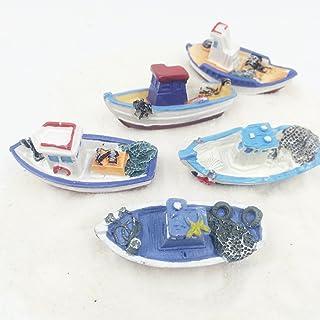 FUNSHOWCASE Lot 5 Retro Sea Fishing Boats Boat Ship Aquarium Terrariums Miniature Garden Fairy Gardens Doll House Cake Topper Resin Decoration Random Colors