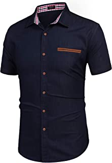Men's Casual Short Sleeve Button Down Dress Shirt Denim Work Shirts
