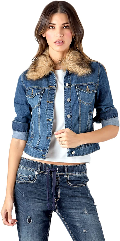 Standards & Practices Modern Women's Detachable Faux Fur Collar bluee Jean Jacket