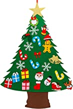 SAVITA 3.1ft Felt Christmas Tree, DIY Christmas Tree with 25pcs Ornaments, Christmas Decorations Door Wall Hanging Ornaments for Kids Xmas Gifts Party Supplies