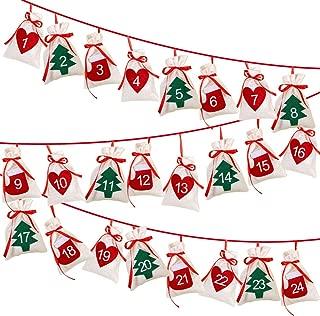 OurWarm Christmas Advent Calendar 2019, 24 Days Hanging Advent Calendars Garland Candy Gift Sacks DIY Felt Advent Calendar Bags for Holiday Christmas Decorations