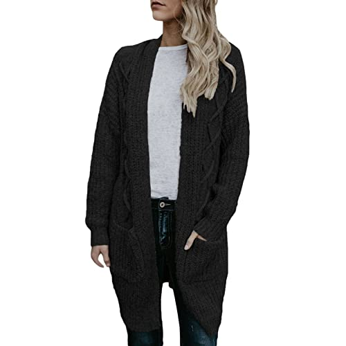 e805ab8d03 FIYOTE Womens Open Front Long Sleeve Chunky Cable Knit Long Cardigans  Sweater with Pockets
