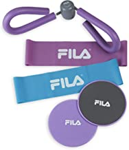 FILA Accessories Total Glute Exercise Trainer Kit (Loop Bands, Core Gliding Disc Sliders and Thigh Toner)