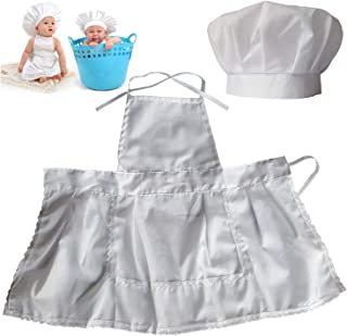 Lightbird Infant Baby Chef Apron Set Photography Props, Chef Unisex Baby Uniform Costume Photo Props Outfits White