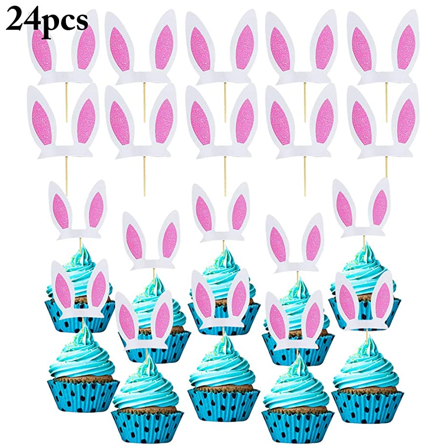 Coxeer 24PCS Cupcake Topper Glitter Bunny Cake Topper Cupcake Pick for Party Decor
