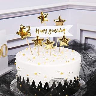 Details about  /40pcs Star Shape DIY Cake Topper Food Picks Wedding Favor Golden /& Silver