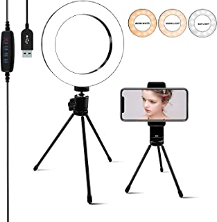 Ring Light [6.3 Inch] with Phone Tripod Stand & Holder,Dimmable 3 Light Modes Selfie Light,Camera Lights for YouTube/Photography/Makeup