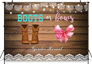 COMOPHOTO 7x5ft Boots or Bows Gender Reveal Backdrop Girl or Boy Baby Shower Photography Background Rustic Wooden Cowboy Boots Lace Party Decoration Cake Table Banner Photo Booth