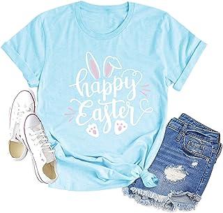 قمصان عيد الفصح سعيد للنساء حرف لطيف مطبوعة الأرنب الجرافيك المحملة عارضة قصيرة الأكمام بلايز