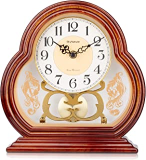 SkyNature Pendulum Desk Clocks, Vintage Grandmother Clock with Swinging Pendulum, Silent Non-Ticking Battery Operated Imitation Wood Hanging Clock for Home, Bedroom, Office, Den Decor - Brown,10 Inch