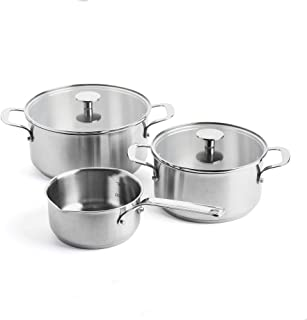 KitchenAid Cookware Set, Stainless Steel Casseroles Set with Lids, 20/24 cm + Saucepan with 2 spots 16cm/1.5L, 5 pcs