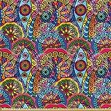 ABAKUHAUS Blumen Satin Stoff als Meterware, Hippie Aztec