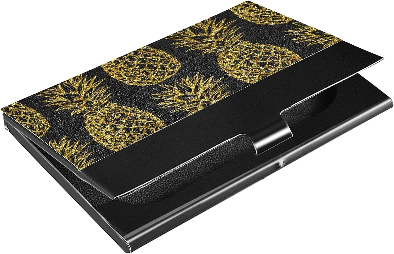 OTVEE Gold Pineapples Business Card Holder Wallet Stainless Steel & Leather Pocket Business Card Case Organizer Slim Name Card ID Card Holders Credit Card Wallet Carrier Purse for Women Men