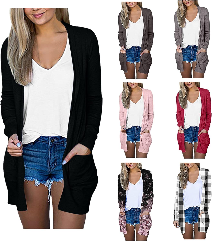 FABIURT Cardigan for Women,Womens Long Sleeve Open Front Lightweight Cardigans Fall Kimono Jackets Outwear with Pockets