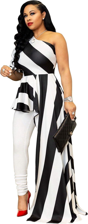 Kearia Women Sexy Striped One Shoulder High Low Irregular Tunic Tops Blouse Shirt Maxi Dress