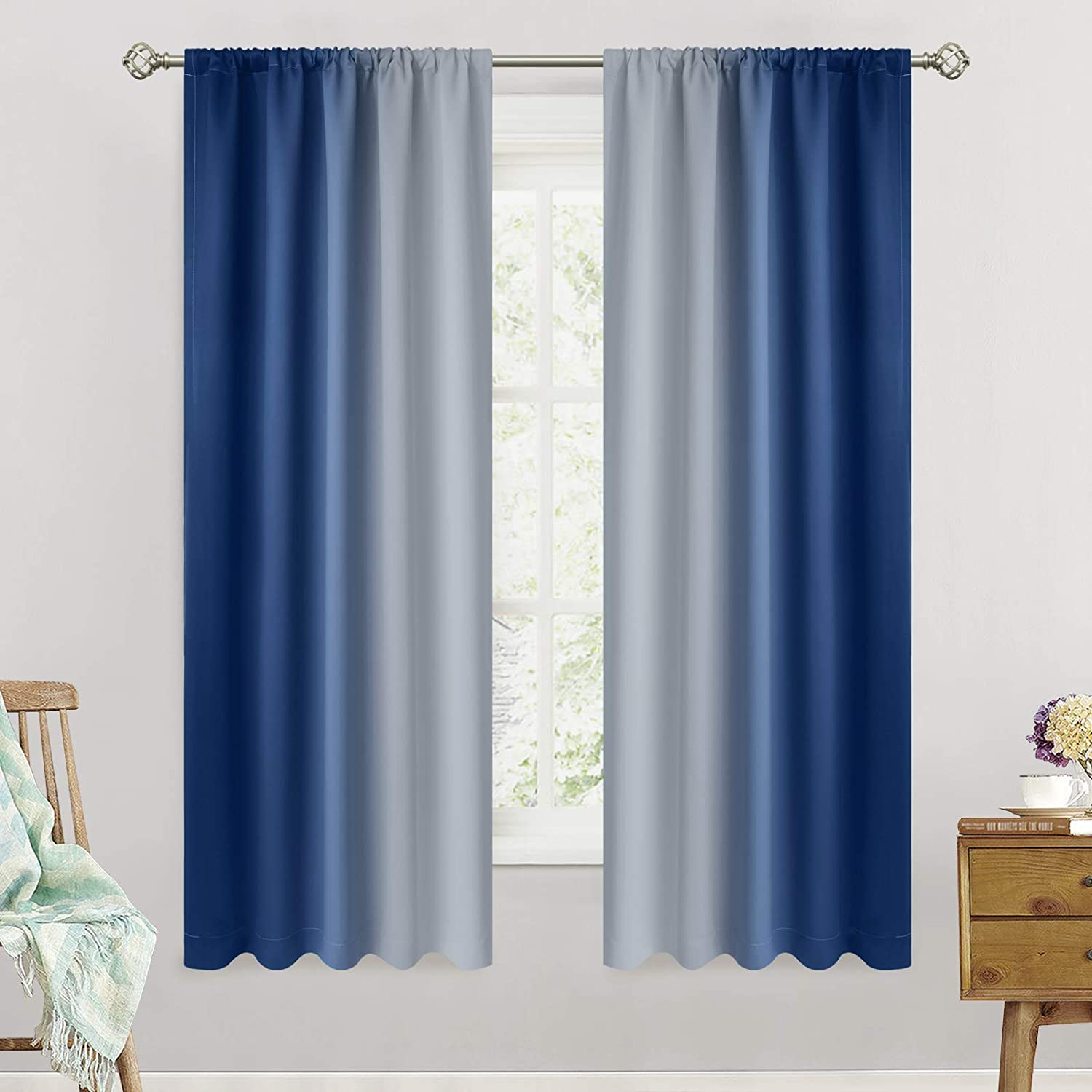 SimpleHome Ombre Max 79% OFF Room Darkening Curtains Po for Living Rod A surprise price is realized