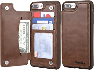 iPhone 8 Plus/iPhone 7 Plus Wallet Leather Case for Men, 3 Card Holder/ID Slots, Protective Cover for iPhone 6s Plus - Brown