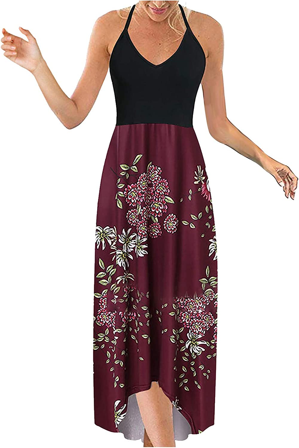 Dresses for Women Casual, Women's Fashion Casual V-Collar Sleeveless Strap Open Back Sexy Printing Long Dresses