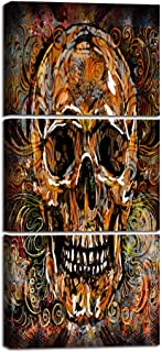 Yatsen Bridge Skull of a Skeleton Oil Painting Reproduction on Canvas Human Bone Wet Skull Prints Day of The Dead Wall Art Giclee,Home Decor Wooden Framed Stretched Ready to Hang(16''Wx36''H)