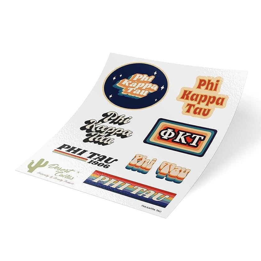 Phi Kappa Tau 70's Themed Sticker Sheet Decal Laptop Water Bottle Car Phi Tau (Full Sheet - 70's)